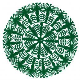 Mała okrągła wycinanka kurpiowska - wzór 7 - zielona