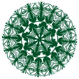 Mała okrągła wycinanka kurpiowska - wzór 8 - zielona