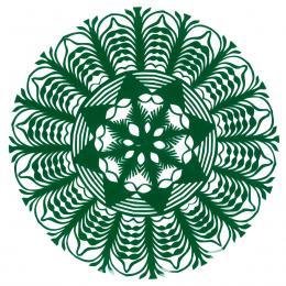 Mała okrągła wycinanka kurpiowska - wzór 9 - zielona