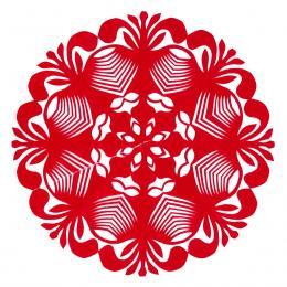 Mała okrągła wycinanka kurpiowska - wzór 11 - czerwona
