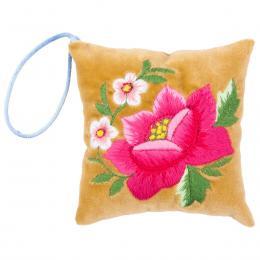 Mini poduszeczka na igły z haftem łowickim - oliwkowa z różową różą