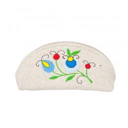 Mała kosmetyczka / etui na okulary - haft kaszubski - niebieskie kwiatki