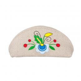 Mała kosmetyczka / etui na okulary - haftowana kompozycja kaszubska