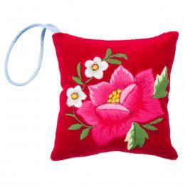 Mini poduszeczka na igły z haftem łowickim - czerwona z różową różą