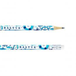 Ołówek z gumką - BAŁTYK symbole - biały