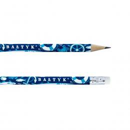 Ołówek z gumką - BAŁTYK symbole - granatowy