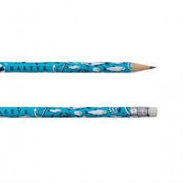 Ołówek z gumką - BAŁTYK symbole - niebieski