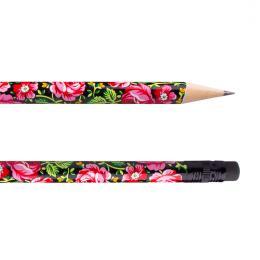 Ołówek z gumką FOLK - góralski czarny