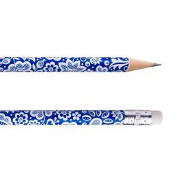 Ołówek z gumką FOLK - kujawski niebieski