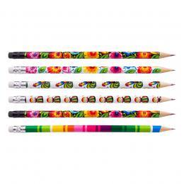 Ołówki z gumką FOLK - zestaw 6 szt. - łowickie motywy ludowe