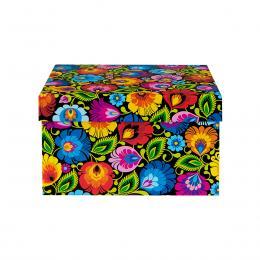 Ozdobne pudełko FOLK | 14 x 17 cm | małe prostokątne - łowickie czarne