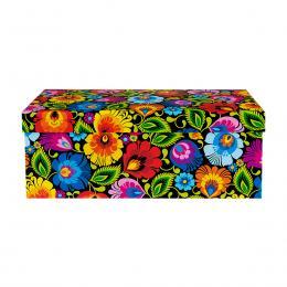 Ozdobne pudełko FOLK | 14 x 29 cm | średnie prostokątne - łowickie czarne