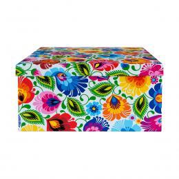 Ozdobne pudełko FOLK | 31 x 31 cm | duże kwadratowe - łowickie białe