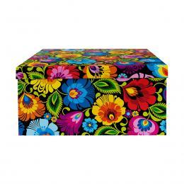 Ozdobne pudełko FOLK | 31 x 31 cm | duże kwadratowe - łowickie czarne