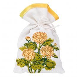 Ozdobny woreczek zapachowy z haftem ludowym - chryzantema kremowa