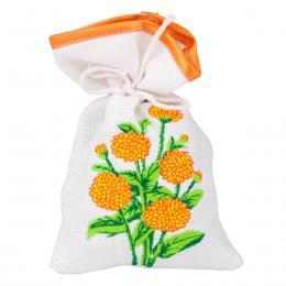 Ozdobny woreczek zapachowy z haftem ludowym - chryzantema żółta