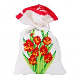Ozdobny woreczek zapachowy z haftem ludowym - żonkile czerwone
