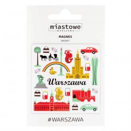 Kwadratowy magnes - WARSZAWA symbole