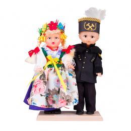 Para śląska z górnikiem - lalki ubrane w śląskie rozbarskie stroje ludowe | 23 cm