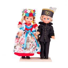 Para śląska z górnikiem - lalki ubrane w śląskie rozbarskie stroje ludowe | 30 cm