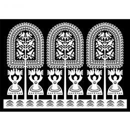 Pocztówka FOLK - kurpiowska - białe baby na czarnym