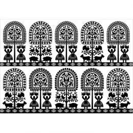 Pocztówka FOLK - kurpiowska - czarne lasy na białym
