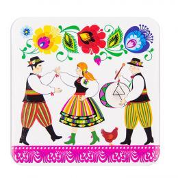 Podkładka korkowa FOLK - scenki ludowe - weselnicy i kura