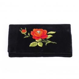 Portfel haftowany - czerwona róża