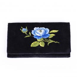 Portfel haftowany - niebieska róża