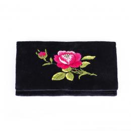 Portfel haftowany - różowa róża