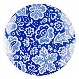 Przypinka FOLK duża - kujawska niebieska