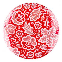 Przypinka FOLK duża - kujawska czerwona