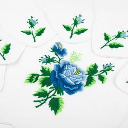 Bieżnik ręcznie haftowany + 6 serwetek | niebieska róża