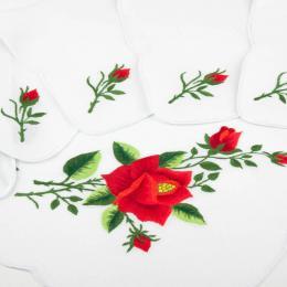 Bieżnik ręcznie haftowany + 6 serwetek - czerwona róża z ostrymi płatkami