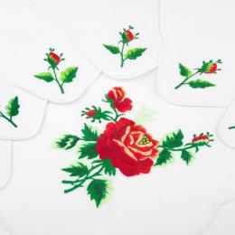 Ręcznie haftowany komplet – bieżnik 48 x 108 cm + 6 serwetek | czerwona róża