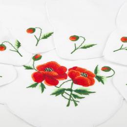 Ręcznie haftowany komplet – bieżnik 48 x 108 cm + 6 serwetek | czerwone maki