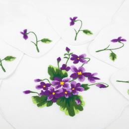 Bieżnik ręcznie haftowany + 6 serwetek - fioletowe fiołki