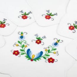 Bieznik ręcznie haftowany + 6 serwetek - haft kaszubski