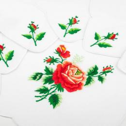 Ręcznie haftowany komplet – bieżnik 48 x 108 cm + 6 serwetek | jasnoczerwona róża