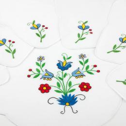 Bieżnik ręcznie haftowany + 6 serwetek - motywy kaszubskie
