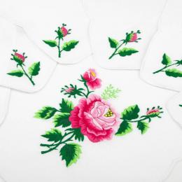 Ręcznie haftowany komplet – bieżnik 48 x 108 cm + 6 serwetek | różowa róża