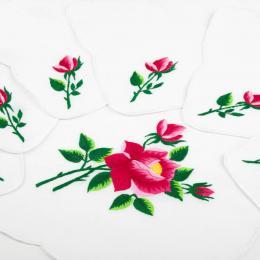 Ręcznie haftowany komplet – bieżnik 48 x 108 cm + 6 serwetek | różowa róża z ostrymi płatkami