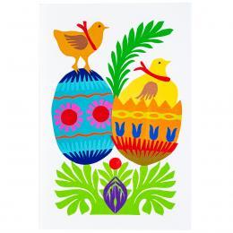 Ręcznie robiona kartka świąteczna - Wielkanoc - dwie pisanki - wycinanka