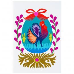Ręcznie robiona kartka świąteczna - Wielkanoc - niebieska pisanka z kogucikiem - wycinanka