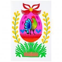 Ręcznie robiona kartka świąteczna - Wielkanoc - różowa pisanka z kogucikiem - wycinanka
