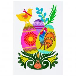 Ręcznie robiona kartka świąteczna - Wielkanoc - trzy pisanki - wycinanka