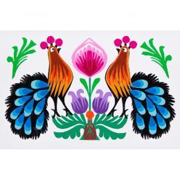 Ręcznie robiona kartka wycinanka - dwa pawie niebieskie pióra