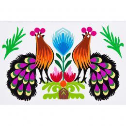 Ręcznie robiona kartka wycinanka - dwa pawie fioletowe pióra