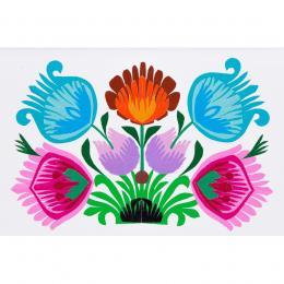 Ręcznie robiona kartka wycinanka - łowickie kwiaty