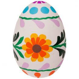 Pisanka - gęsie jajo - kwiatuszki pomarańczowe